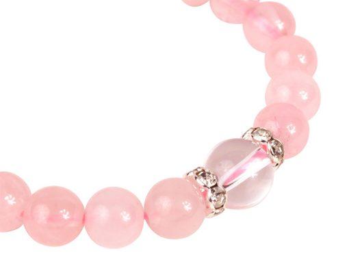 bracelet perles rose coeur