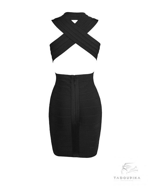robe glamour noire Sylvia bandage dress v neck bodycon black dress party dress luxury mode femme france plunge dos tadoupika