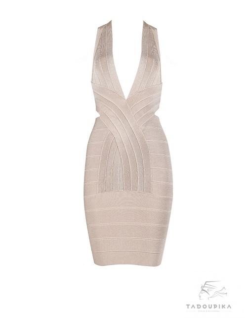 robe glamour noire Sylvia bandage dress v neck bodycon pink dress party dress luxury mode femme france plunge tadoupika baby pink rose