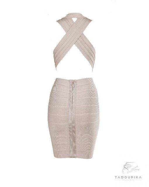 robe glamour noire Sylvia bandage dress v neck bodycon rose poudre baby pink dress party dress luxury mode femme france plunge dos tadoupika