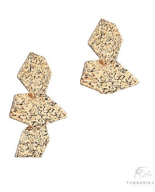 boucles d'oreille doré asymetrique asymetrical earrings gold metal martel bijou france mode cadeau casual boheme tadoupika