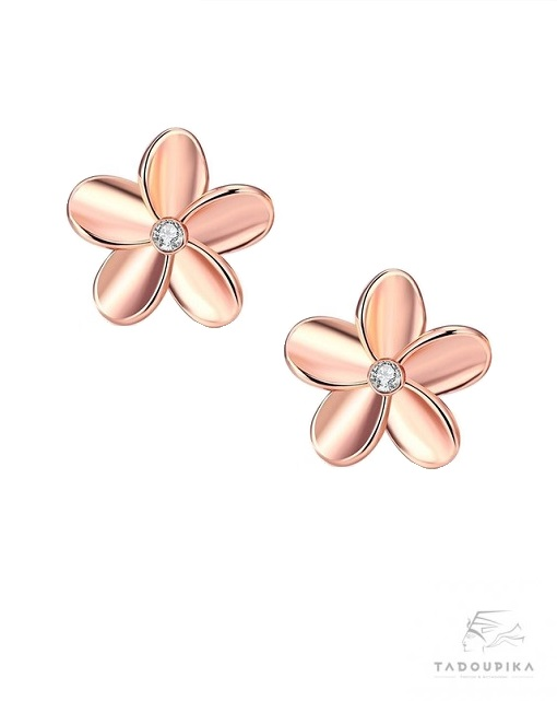 boucles d'oreilles or rose fleur flower cuivre or gold strass cristal mignon pink gold tadoupika