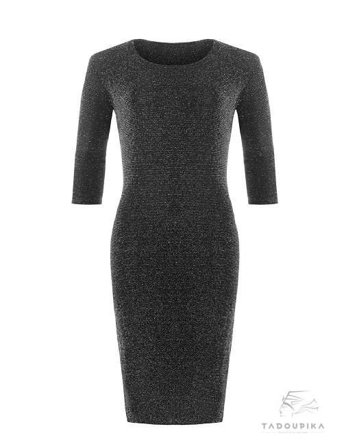 robe moulante lurex paillette manches 4 quart plus size glitter dress party dress plus size dress cocktail black dress glitter tadoupika