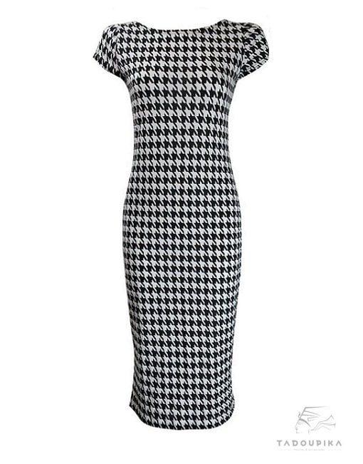 robe-pieds-de-poule-monochrome-short-sleeves-plus-size-dress-bodycon-short-sleeves-dress-midi-dress-midi-dress-france-tadoupika-min