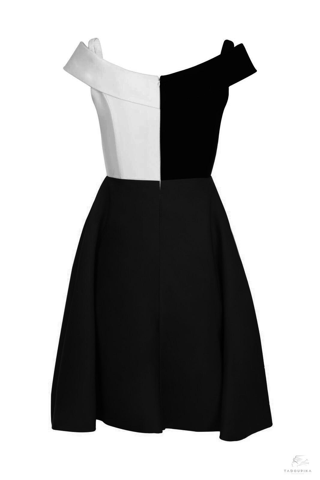 robe brigitte noire blanc contrast illusion dress custom dress personnalisable plsu siz curve france mode femme magazine defile ete summer wedding garen party france dos tadoupika