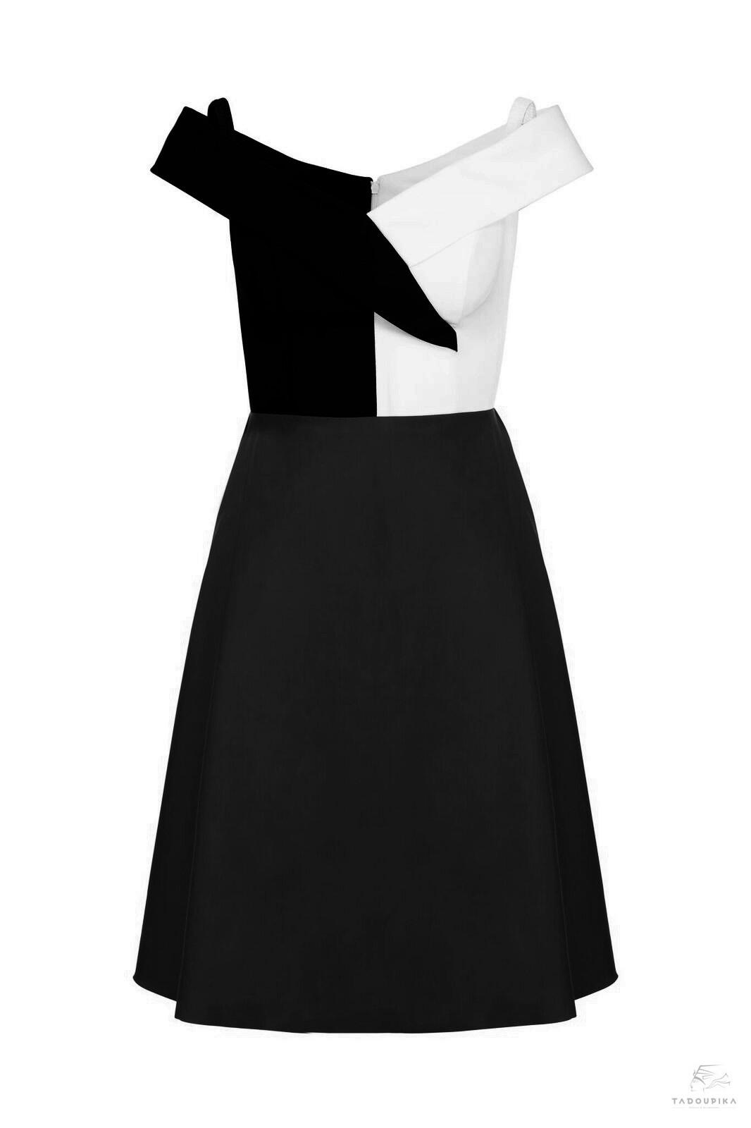 robe brigitte noire blanc contrast illusion dress custom dress personnalisable plsu siz curve france mode femme magazine defile ete summer wedding garen party france face tadoupika