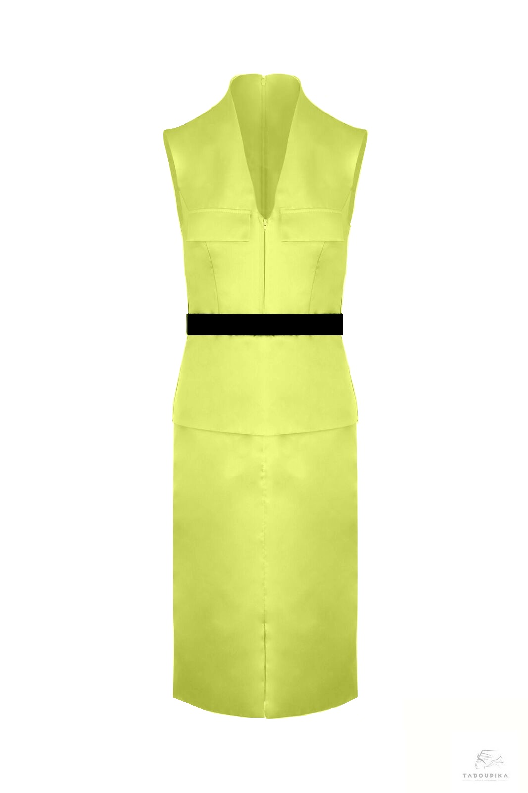 robe workin girl belt dress lenght to knee satin dress office dress made in france curves sur mesure yellow dress contrast dress illusion dress tadoupika