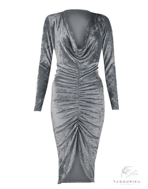 robe moulante velours noires long sleeves mode femme tendance pika tadoupika robe ta manche metal argent silver dress tadoupika