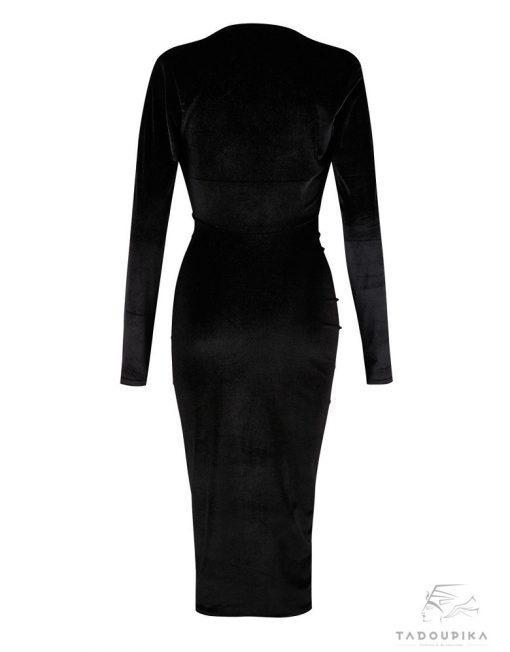 robe moulante velours noires long sleeves mode femme tendance pika tadoupika robe ta manche moulante tadoupika