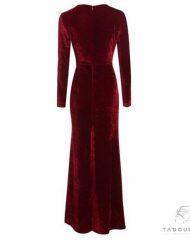 women-dress-coctail-party-dress-long-sleeves-velvet-dress-curve-slit-wine-bordeaux-robe-femme-manches-longue-france-decolleté-tadoupika-510x652-min
