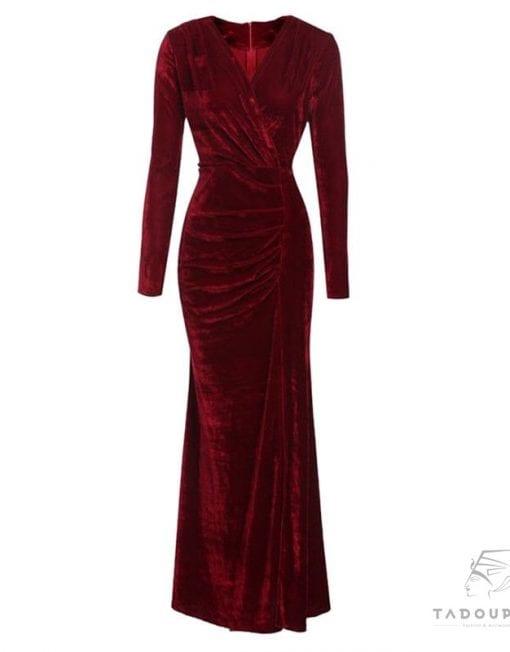women-dress-coctail-party-dress-long-sleeves-velvet-dress-curve-slit-wine-bordeaux-robe-femme-manches-longue-france-tadoupika-510x652-min