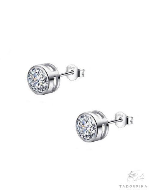 Boucle d'oreilles femme argent zircon argent silver earrings mode femme accessoires bijoux fantaisie france cadeau mariage cocktail tadoupika
