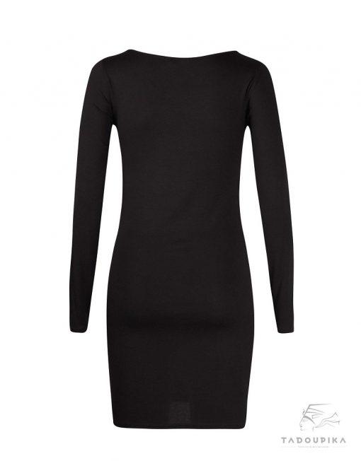 robe manches longues basic noire robe noire la petite robe noir little black dress plus size toutes les tailles mode france femme dos tadoupika