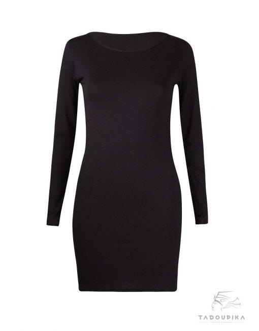 robe manches longues basic noire robe noire la petite robe noir little black dress plus size toutes les tailles mode france femme tadoupika