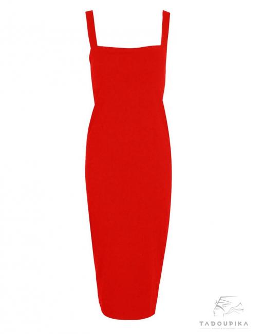 robe rouge bodycon mode femme midi dress knee dress strappy strap spaghetti tadoupika