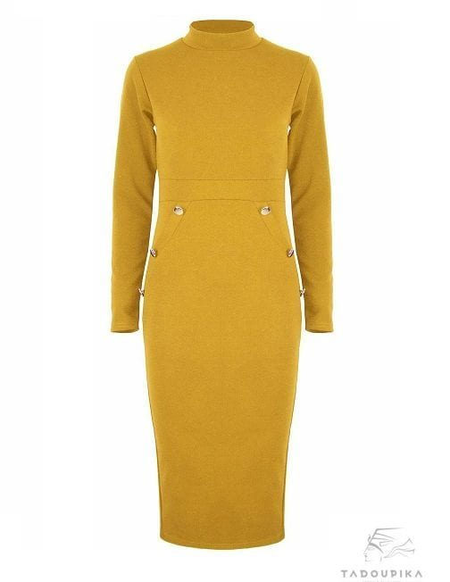 women-dress-working-girl-dress-high-neck-long-sleeves-bodycon-dress-office-dress-business-dress-black-dress-plus-size-dress-france-yellow-dress-mustard-tad