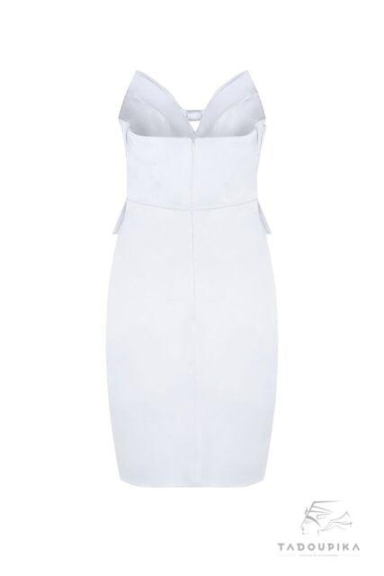 robe bustier british english mode fashion london french inspiration mode france plus size custom white cocktail strapless dress siz