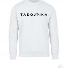 7 sweatshirt blanc unisexe poitrine logo classique blanc logo noir tadoupika