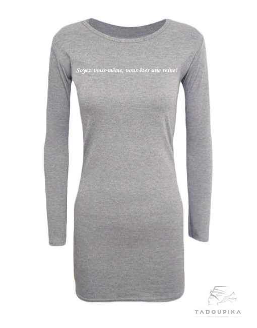 robe casual jersey slogan tadoupika sport plus size curve all size little size fitness luxe gris