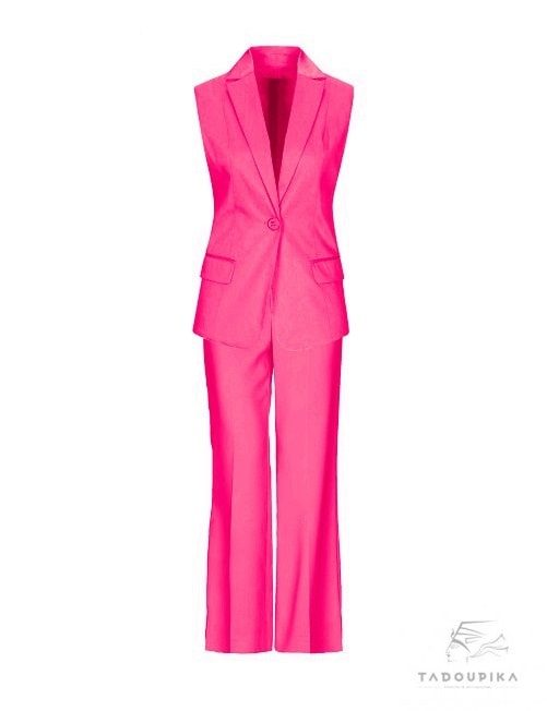 tailleur-fushia pant vest office suit rose lady women sur mesure tadoupika