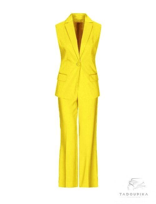 tailleur-jaune-pantalon ajuste mode luxe shopping working girl plus size tadoupika
