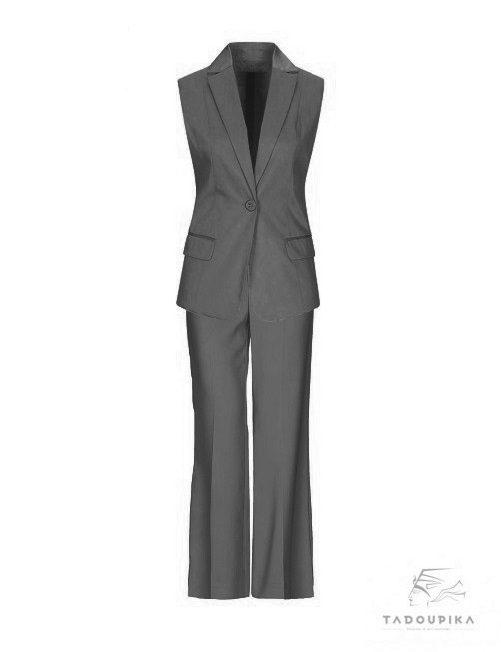 tailleur sur mesure gris pantalon sur mesure veste sans manches veste blaser blazer jacket office suit tadoupika