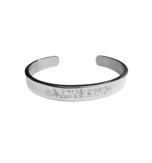 bracelet acier argent silver stainless engrave grave print pattern france worlwilde gift amour romantique deesse nefertiti isis stainless amaz tadoupika