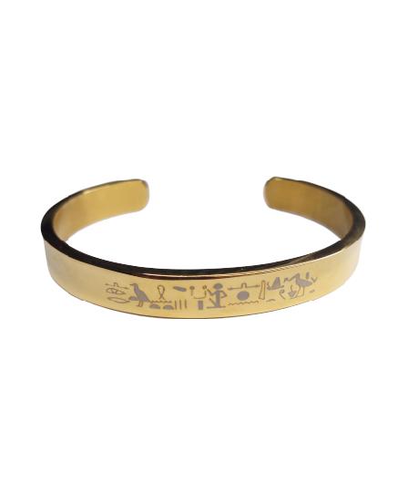 bracelet acier gold or doré stainless engrave grave print pattern france worlwilde gift amour romantique deesse nefertiti isis stainless amaz tadoupika