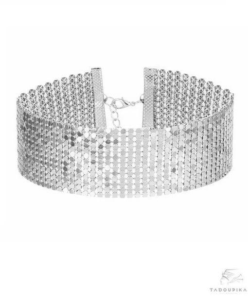 collier ras de cou metallique chaine maille silver chocker necklace