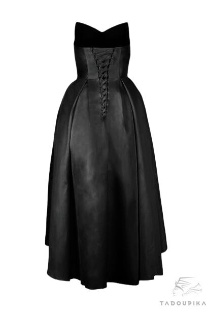 robe bustier noir cocktail bal ceremonie miss demoiselle plus size sur mesure france lae up lacage tadoupika