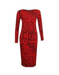 robe leopard face plus size animal dress long sleeves zip slit robe fendue mode femme france