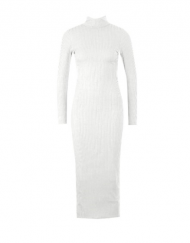 robe pull blanche midi dress white curvy long sleeves dress boycon mode femme france knee mollet extensible france tadoupika