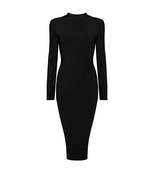 robe bandage face noir plus size mode femme france luxe robe robe de luxe noire robe bandage plus sie bandage dress long sleeves midi dress bodycon curvy france tadoupika